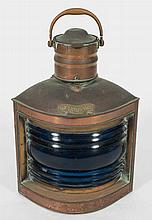 A ship's copper starboard lantern: of typical form