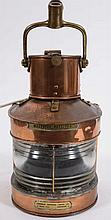 A WWII period copper and brass masthead lamp:, by