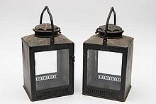 A pair of early 19th century tinplate lamps by G P