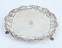 A George II silver waiter, maker Dorothy Mills, Lo