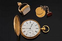 An 18ct gold keyless lever hunter pocket watch: th