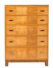 A Heals Art Deco maple veneer upright chest:, cont