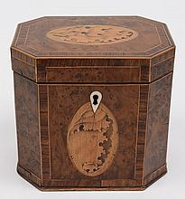 A George III burr wood and inlaid tea caddy: of re