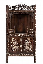A Chinese carved wood and mother of pearl decorate