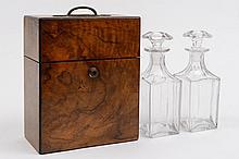 A 19th century burr walnut travelling decanter box