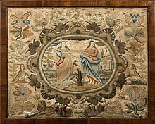 A 17th Century stumpwork picture:  with central ov
