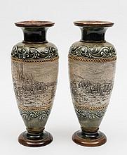 A pair of Royal Doulton stoneware vases by Hannah