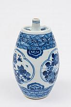 A Chinese blue and white spirit flask: of barrel f