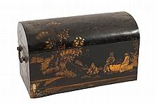 A 19th Century Japanese black lacquer domed trunk-