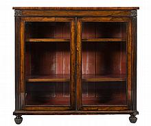 A William IV rosewood and inlaid low bookcase:, th