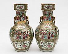 A pair of Canton porcelain vases: of oviform with