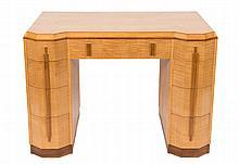 An Art Deco maple veneered kneehole desk or dressi