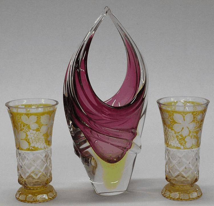 A pair of amber-flashed cut glass vases: and an