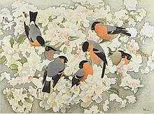 Keith Henderson [1883-1982]- Bullfinches and apple