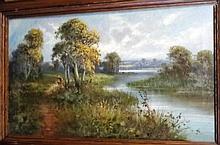 Frank Hider [1861-1933] River Scene: - signed oil