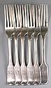 Six Victorian silver fiddle pattern dessert forks,