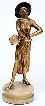 An Art Deco gilt bronze figure of a female dancer: