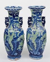 A large pair of Staffordshire ironstone vases: in