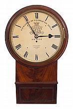 Vulliamy, London, a mahogany drop-dial wall clock: