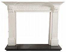 A white painted wood fire surround:, the mantel sh