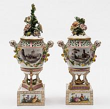 A pair of Carl Thieme (Postchappel) pot pourri urn