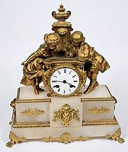 Japy Frères, an onyx and gilt-metal mantel clock: