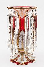 A Bohemian red and white overlay table lustre: of