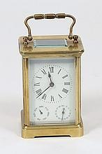 An Edwardian French carriage clock with subsidiary