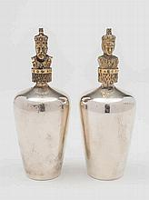 A pair of Elizabeth II silver commemorative perfum