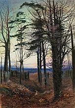 Edgar John Varley [1839-1889]- Eventide; rabbits f