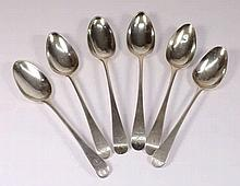 Six George III Old English dessert spoons, various