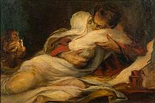 Follower of Theodore Gericault- The Lovers:- oil o