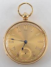 An 18ct multi-colour gold keyless pocket watch: th