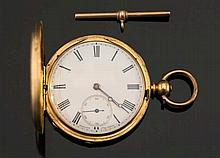 An 18ct gold key wound detached lever hunter pocke
