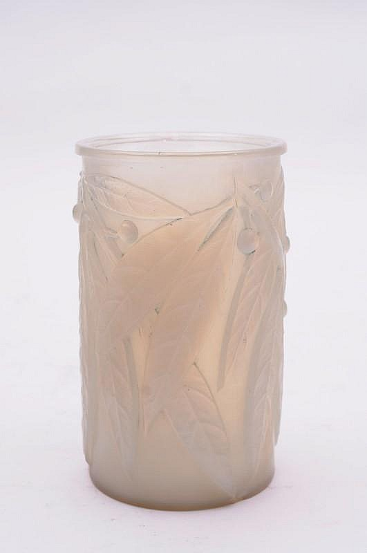 A Lalique opalescent glass vase 'Laurier' of