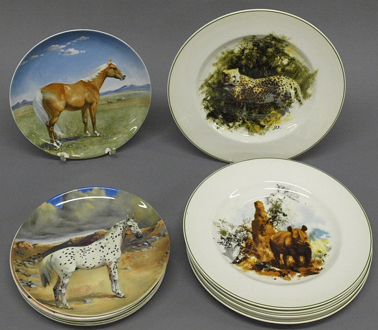 A set of six David Shepherd designed WWF plates by