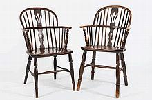 A harlequin set of six 19th Century elm, ash and f