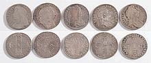 A Charles II shilling 1663: a James II shilling 16