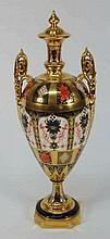 A Royal Crown Derby two-handled porcelain pedestal
