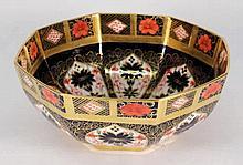 A Royal Crown Derby porcelain bowl: of octagonal f