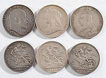 Two Victoria crowns: 1887, 1900 and an Edward VII