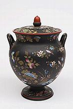 A Wedgwood enamelled black basalt two-handled pot