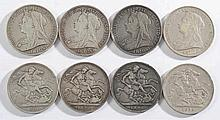 Four Victorian crowns: 1898, 1898, 1899, 1900.