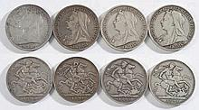 Four Victorian crowns: 1893, 1894, 1894, 1895.