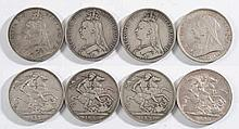 Four Victorian crowns: 1891, 1892, 1892, 1893.