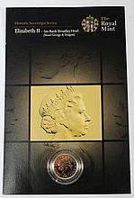 An Elizabeth II sovereign 2005: in plastic case.