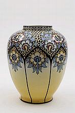 An Art Deco faience vase by Lionel Dufrasne: decor