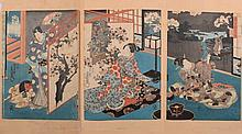 After Toyokuni a woodblock triptych: depicting a s