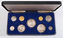 A Victoria Jubilee nine coin set, 1887: sovereign