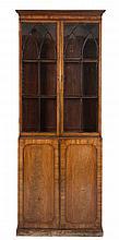 An early 19th Century mahogany bookcase:, of small